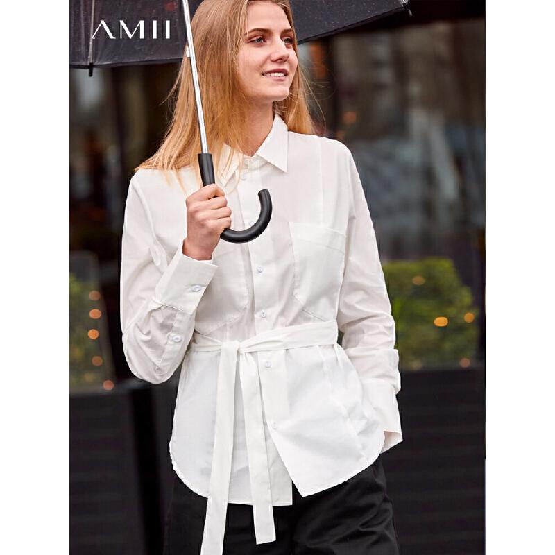 【到手价:150元】Amii极简韩版设计感心机上衣女2019秋新款黑白洋气通勤衬衫配腰带 AMII-极简主义女装领导者!