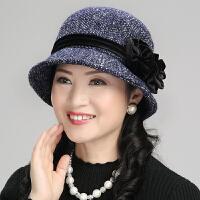 中老年妈妈渔夫帽 优雅女士帽子女春秋冬保暖时尚贝雷帽休闲小盆帽