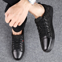 夏季透气休闲皮鞋男韩版板鞋小黑鞋夏天平底布鞋时尚个性男鞋潮鞋夏季百搭鞋