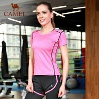 camel骆驼瑜伽服套装 女短袖T恤长裤健身服跑步运动套装夏