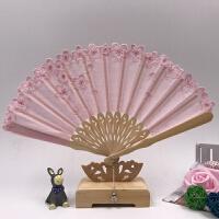 夏季日式古风樱花折扇女刺绣花瓣 真丝扇工艺旅游礼品扇
