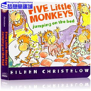 #【现货】五只小猴英文原版绘本 Five Little Monkeys Jumping on the Bed 五只小猴子床上蹦蹦跳 纸板书 廖彩杏书单