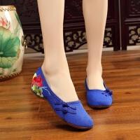 老北京绣花鞋民族风女鞋坡跟禾秀婚鞋红色汉服女式布鞋舞蹈鞋单鞋