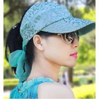 薄款透气空顶女帽遮阳帽 手工珠片大码棒球帽 女士时尚骑车防晒帽