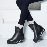 娜箐箐冬新款头层牛皮松糕底中跟短筒靴女圆头内增高短靴女靴