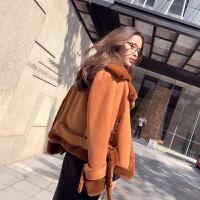 谜秀棉服女冬装2017新款韩版麂皮绒皮毛一体chic短款外套女秋冬