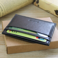 卡包简约薄款头层羊皮多功能卡片包女士卡包零钱包男式银行卡钱夹卡夹 黑色
