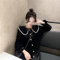 韩风复古小珍珠娃娃领长袖丝绒连衣裙女甜美荷叶边宽松中长款裙子