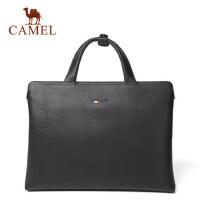 Camel/骆驼男包男士 手提包休闲横款公文包牛皮单肩斜挎男包包