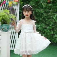 奥戈曼 童装女童立体花瓣白色公主裙小礼服大童儿童女孩子夏装粉色连衣裙
