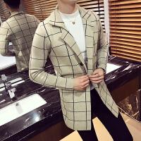 秋冬男士韩版英伦修身浅色格子休闲外套潮流青年中长针织毛线衣