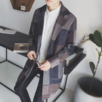 2017秋冬新款不规则格子呢大衣日系青少年中长款外套港风男装风衣