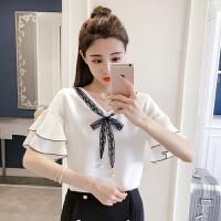 夏装韩版荷叶喇叭袖系带蝴蝶结V领雪纺衫甜美短袖上衣女