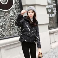 羽绒女短款2018冬装新款韩版面包服加厚棉衣外套小个子棉袄潮 黑色 S