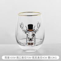 北欧创意玻璃水杯家居餐桌面办公室早餐杯牛奶果汁杯装饰礼品摆件