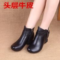 手工复古真皮女鞋粗高跟舒适牛皮女短靴欧洲站单靴子妈妈鞋 黑色 单靴