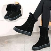 6平方鞋馆【6-8厘米加绒加厚】内增高雪地靴保暖棉鞋坡跟磨砂女靴 6-8厘米 黑色【保暖内里】