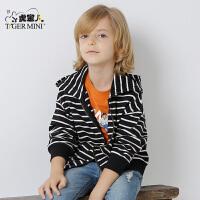 小虎宝儿童装男童纯棉外套儿童条纹开衫2017秋装新品韩版潮中大童