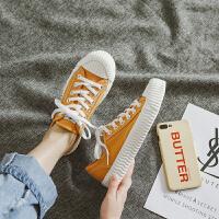 小脏橘帆布鞋女学生韩版小白鞋2019夏款港风饼干板鞋韩版潮夏季百搭鞋 黄色