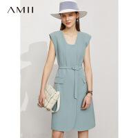 Amii极简通勤收腰修身连衣裙2021夏新款气质职业西装裙背心裙子女