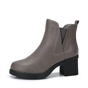 camel/骆驼女鞋 2017秋冬新款 简约百搭套筒方跟短筒靴休闲短靴女