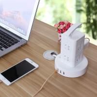 【支持�Y品卡】立�w插接�板多用智能插座立式多孔多功能USB插排插7jp