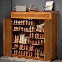 淘之良品带门简易多功能大鞋柜客厅玄关柜子多层木质北欧小鞋架简约家用楠竹换鞋凳防尘鞋架子多容量鞋凳置物架