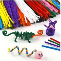 儿童益智手工编织毛条绒线绒丝DIY工具扭扭棒 配件材料 彩色扭扭棒 毛绒条 毛根 绒铁丝 多色 杂色 100根