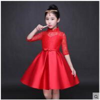 简约立领镂空蕾丝女童婚纱蕾丝旗袍演出服时尚超大裙摆中袖红色女童礼服公主裙蓬蓬裙