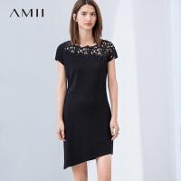 【AMII 超级品牌日】Amii[极简主义]2017夏装新拼接绣花不规则下摆短袖连衣裙11722882