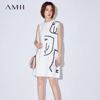 【AMII 超级品牌日】Amii[极简主义]2017夏装新款大码无袖休闲个性印花连衣裙11772005
