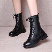 18新款原宿风复古马丁靴女英伦风磨砂短靴单靴女平底靴圆头系带女 黑色 35 女款