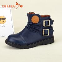 【1件2折后:49元】红蜻蜓童鞋冬款英伦风中筒防水防滑马丁靴男女童儿童靴子