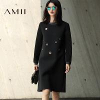 AMII[极简主义]冬新大码几何金属装饰撞色时尚连衣裙11674077