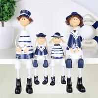 格木质吊脚娃娃家居装饰客厅电视柜房间海军风摆件