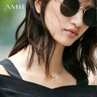 Amii[极简主义]2017新品极简珍珠黄铜电镀百搭锁骨链项链11774479