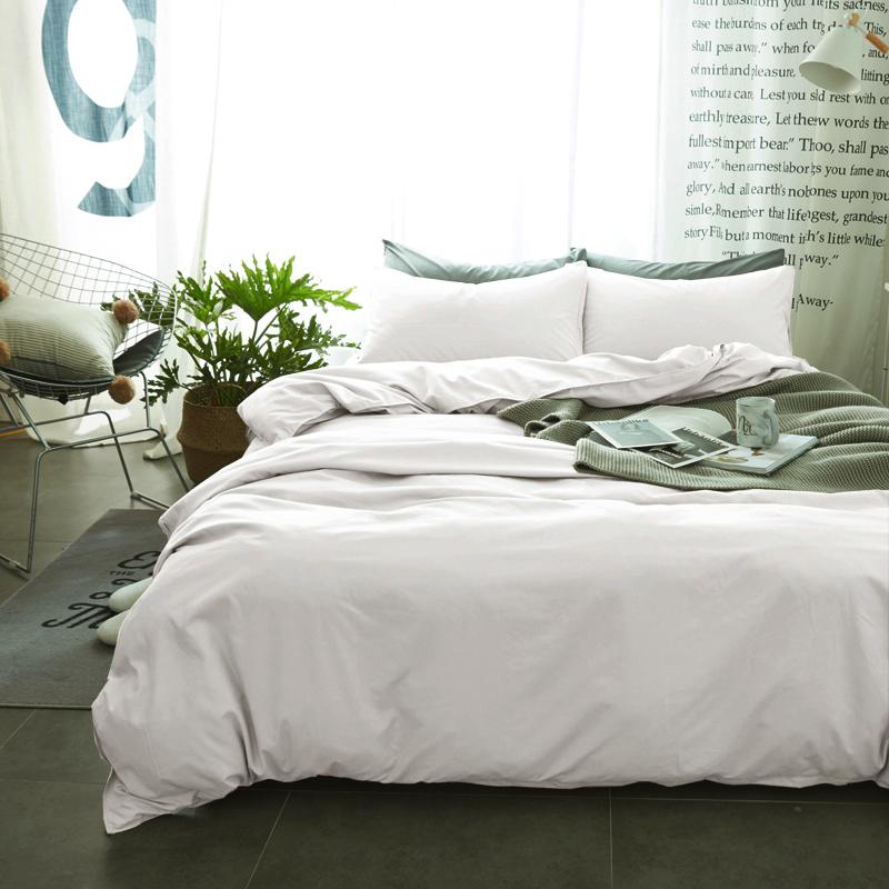 纯色床上用品1.5纯棉磨毛床单被套三件套1.8米床笠全棉网红四件套 白色 -单色
