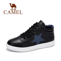 camel 骆驼女鞋 秋季新款时尚印花小白鞋 舒适百搭高帮鞋潮