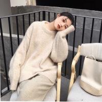 冬季女复古气质圆领加厚针织羊绒衫简约优雅套头慵懒宽松羊毛毛衣