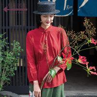 生活在左2019春款新品女装红色衬衫休闲上衣百搭文艺长袖女士衬衣