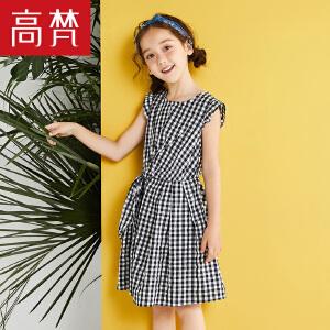高梵2018新品格纹百搭短袖连衣裙棉质格纹连衣裙子女童童装时尚