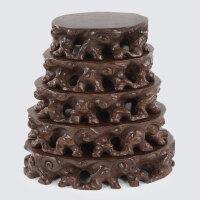 花盆景摆件玉石头木托底座黑檀木根雕底座实木圆形可挖槽奇石底座