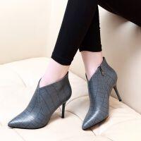 女靴短筒高跟鞋欧美秋冬皮面尖头细跟裸靴新款气质时尚中跟时装靴