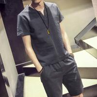 【超值套装限时秒杀】夏季新款男士日系亚麻短袖薄T恤短裤套装男士大码亚麻套装短裤