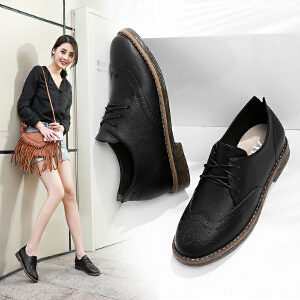 ZHR2017秋季新款英伦风女鞋平底粗跟单鞋黑色休闲鞋复古小皮鞋Q11
