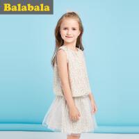 【每满200减100】巴拉巴拉儿童短袖套装女2017夏新款中大童女童两件套半袖休闲