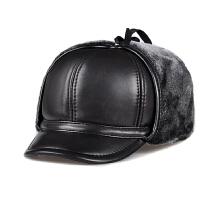 冬季中老年真皮男帽护耳羊皮帽老头雷锋帽老人皮帽子保暖