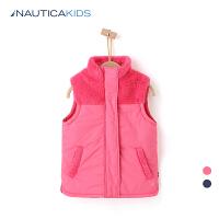 【2件5折到手价:99.5】nautica/诺帝卡童装 女童马甲加绒厚背心秋冬新品儿童棉坎肩
