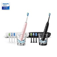 飞利浦(PHILIPS) 电动牙刷成人声波震动钻石系列蓝牙版(刷头*4+充电旅行盒+充电玻璃杯) HX9924/22
