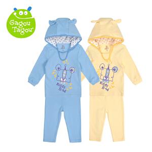 【加拿大童装低至19元】【加拿大童装】Gagou Tagou婴幼儿男女宝宝纯棉四季兔耳朵套装外出套装